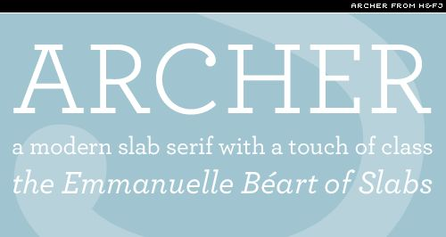 Archer from H&FJ is perhaps one of the best slab serifs for setting extended text. It comes in numerous weights, has an excellent italic accompaniment, ...