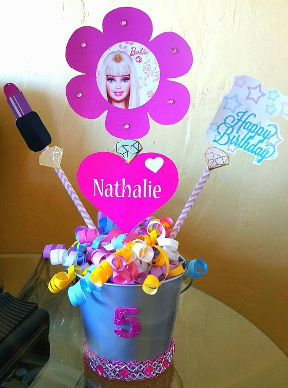 Check out this item in my Etsy shop https://www.etsy.com/listing/270734528/barbie-centerpiece-barbie-birthday-theme