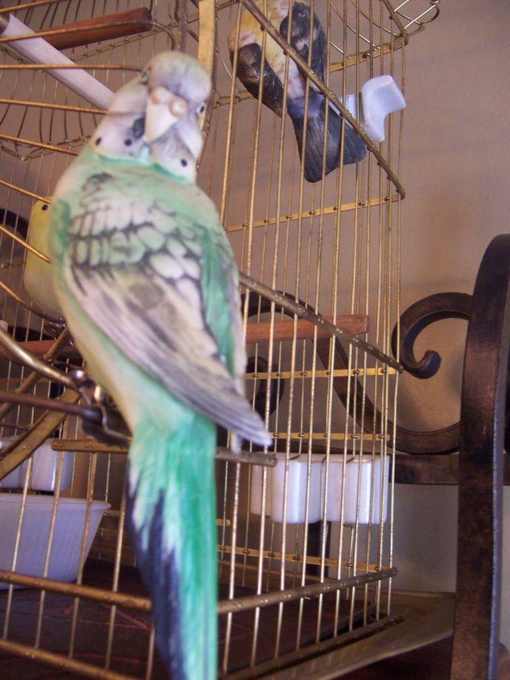 Vtg Japan Bisque Parakeet Budgie Bird Clip Antique Bird Cage Christmas Ornament  | eBay