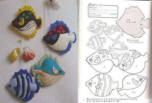 Moldes Para Artesanato em Tecido: Peixe em feltro com molde ...