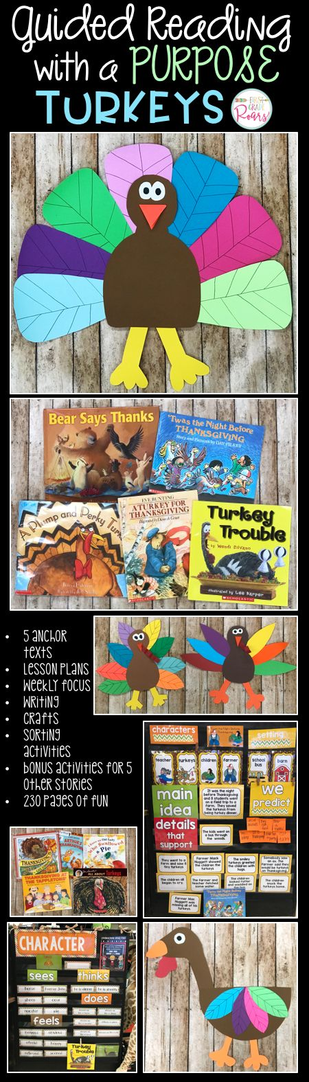 This fun turkey unit has literature and writing connections to 10 fun turkey stories. It is perfect for kindergarten, first or second grade.  There are anchor charts to go with 5 of the books, 4 different turkey crafts, and loads of activities.  Your students will be all ready for Thanksgiving after ready these gobble stories.
