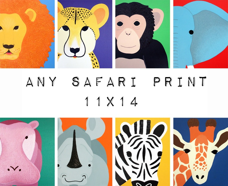 Safari nursery art. Safari animal prints. 11x14 modern picture for baby  child, art, zoo for kids rooms and playrooms in purple and yellow: Safari Animal, Zoos Animal, Safari Nurseries, Nurseries Art, Animal Prints, Jungles Nurseries, Jungles Animal, Baby Nurseries, Kids Rooms