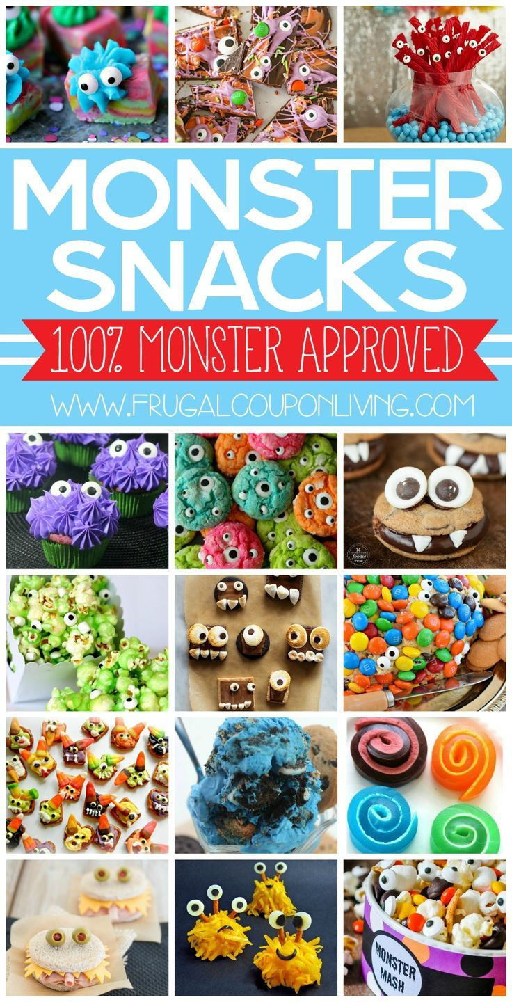 Hosting a monster of an occasion? Whether a birthday party, classroom event or  something for little monster, these Monster Snacks will not disappoint. Round-up on Frugal Coupon Living.