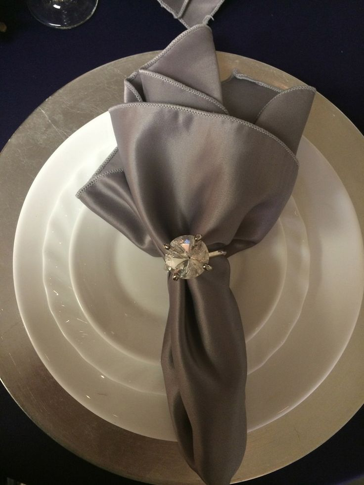 Lovely purple and grey place setting from Big Top Tent Rentals