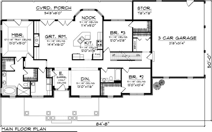 Country Style House Plan 3 Beds 2 Baths 2016 Sq Ft Plan