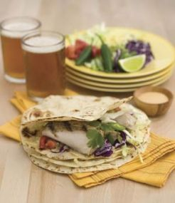 A fun twist on the traditional Fish Taco recipe  - Grilled Fish Tacos with Chipotle Ranch.