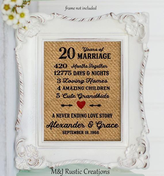 20th Wedding Anniversary Gift Custom Anniversary Gift 25th 26th 258 20th Wedding Anniversary Gifts Anniversary Gifts Wedding Anniversary Gifts