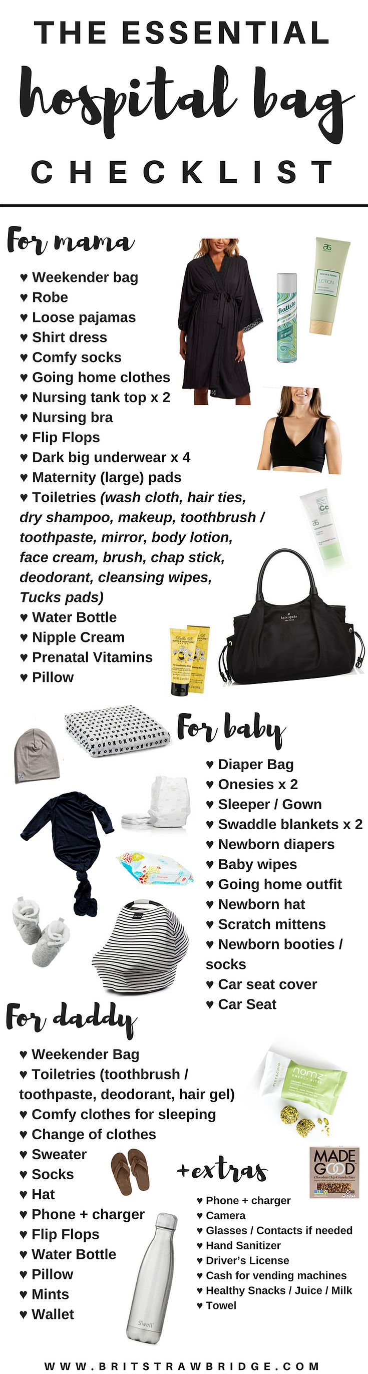 The Essentials Hospital Bag Checklist for mama, daddy & baby. + free checklist printable! #ParentingTips