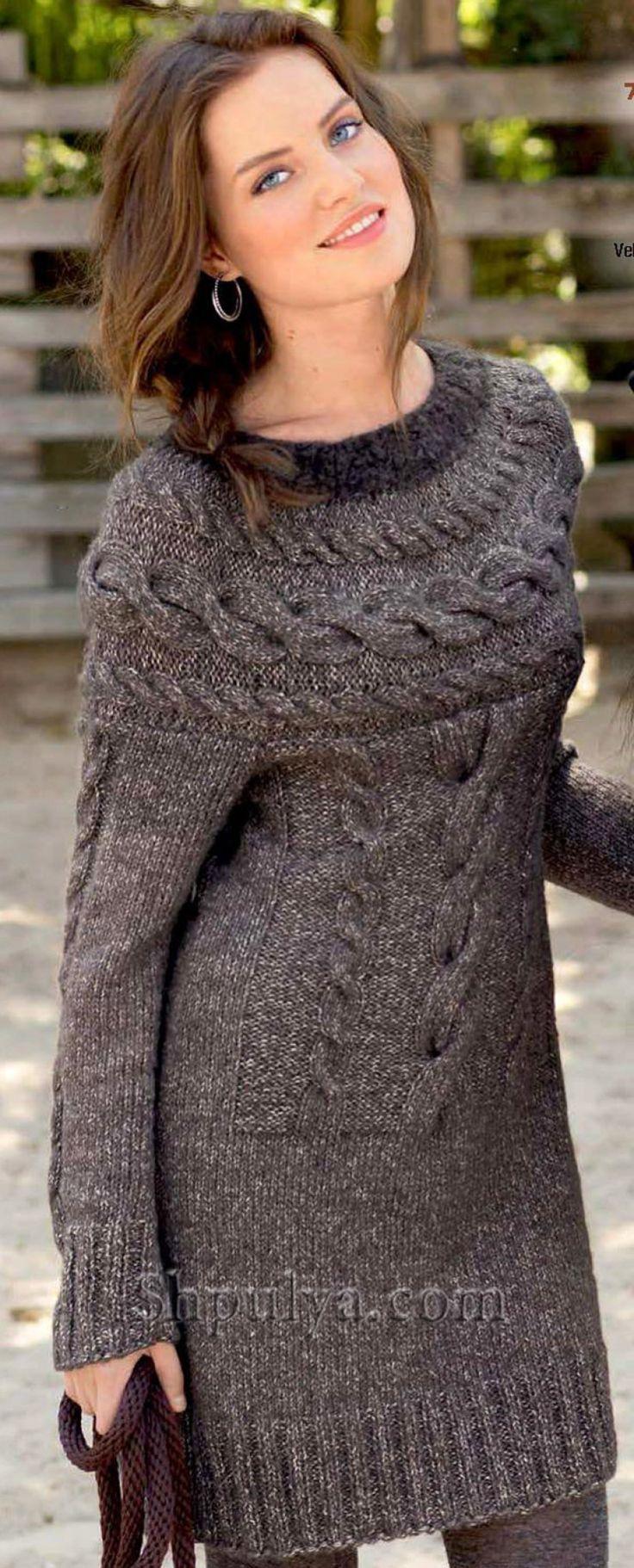 Платье с кокеткой с узором из кос, вязаное спицами