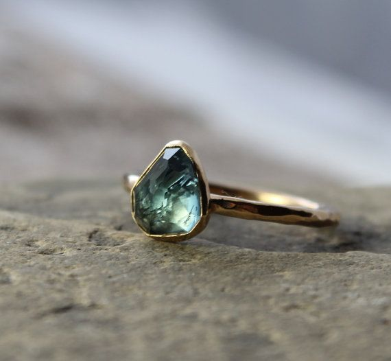 indicolite blue tourmaline engagement ring - OOAK hammered 14k gold engagement ring - size 7.75 - May birthstone