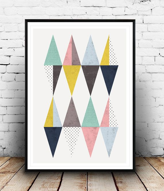 Triangle poster Scandinavian poster Triangles print by Wallzilla