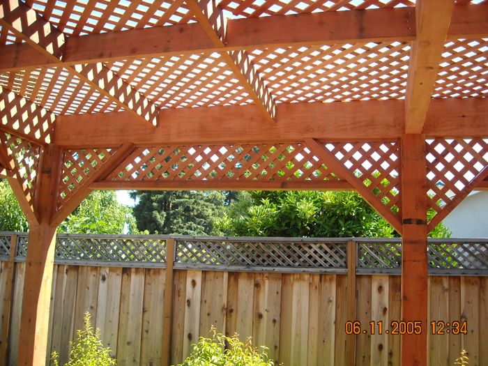 Lattice pattio freestanding redwood patio cover custom for Redwood patio cover