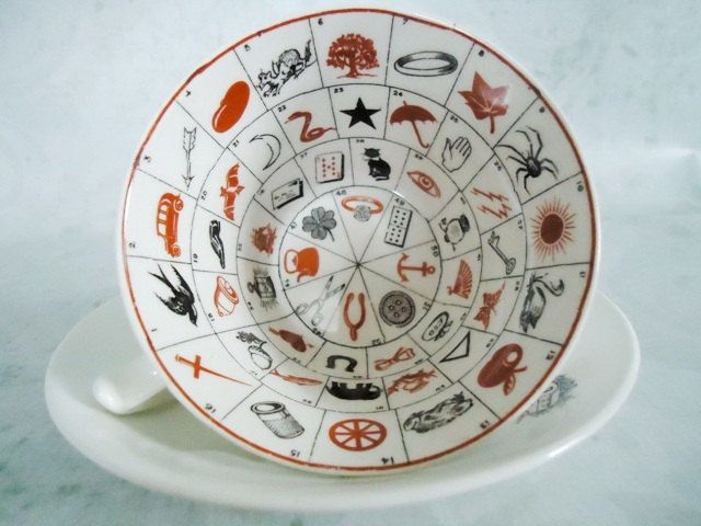 Rare vintage Fortune Telling Tea Cups and Saucers; made in the late 1930's - 1940's,   Romany Fortune Tea Cup and Saucer