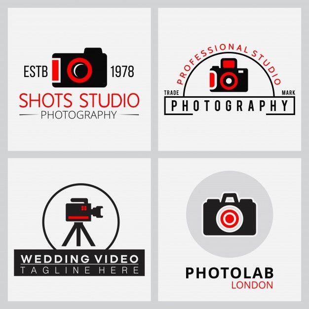 写真家4のためのベクトル黒と赤のアイコンを無料でダウンロード ロゴ