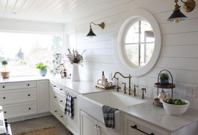 Shiplap Kitchen: Planked Walls Behind Sink & Stove, #Kitchen #Planked #Shiplap #sink #Stove …