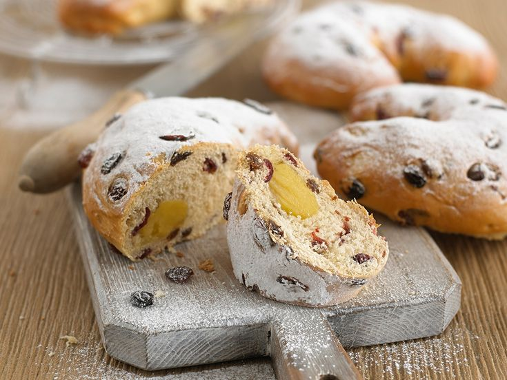 Stollen is a traditional German cake containing dried fruit and marzipan. It