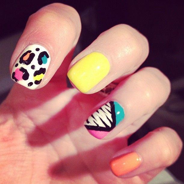 bright + wild: Nails Art, Neon 80S, Nails Design, Inspiration Nails, Nails Polish, 80S Nails, Neon Nails, 80 S Inspiration, 80S Inspiration