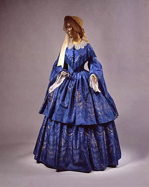 Blue silk dress, 1859, via MMA.