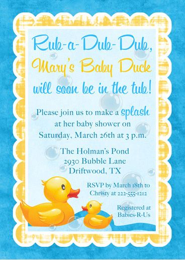 Rubber Ducky Baby Shower Ideas | Baby Duck Shower Invitation - Rubber Ducky Blue & Yellow