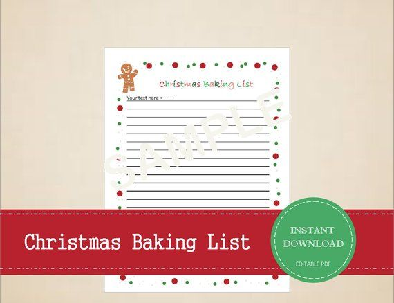 Christmas Baking List Printable And Editable For Digital Use Instant Pdf Download Christmas Baking Christmas Recipe Cards Christmas Wish List Template