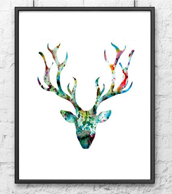 Giclee art print - Watercolor painting blue deer - Watercolor art print - Watercolor animal painting