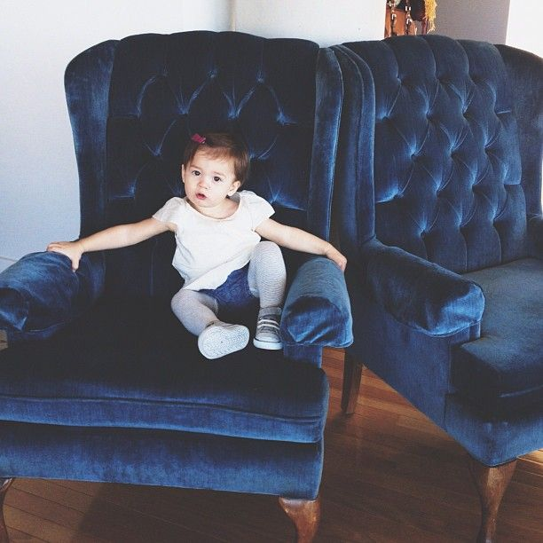 Redoing Our Wing Chairs Like This   Blue Lagoon Velvet (fabric From West  Elm)