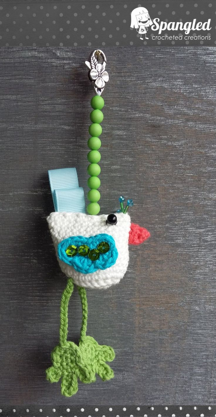 Bird Crocheted Keychain by SpangledCrochet on Etsy