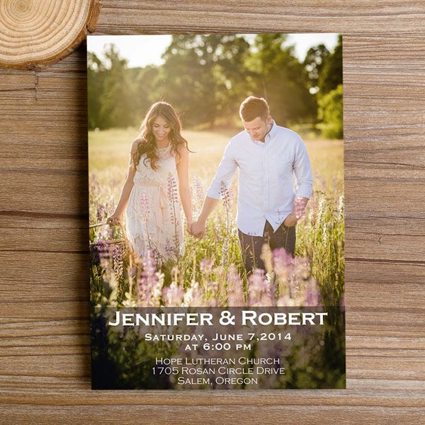 cheap romantic lavender scene photo wedding invitation EWI311 as low as $0.94