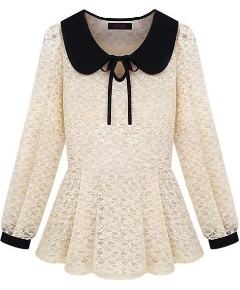 I am getting this for my bday!  Beige Peter Pan Collar Overlay Lace Peplum Top - Sheinside.com