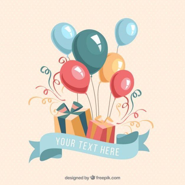 presentes e balões de aniversário Vetor grátis