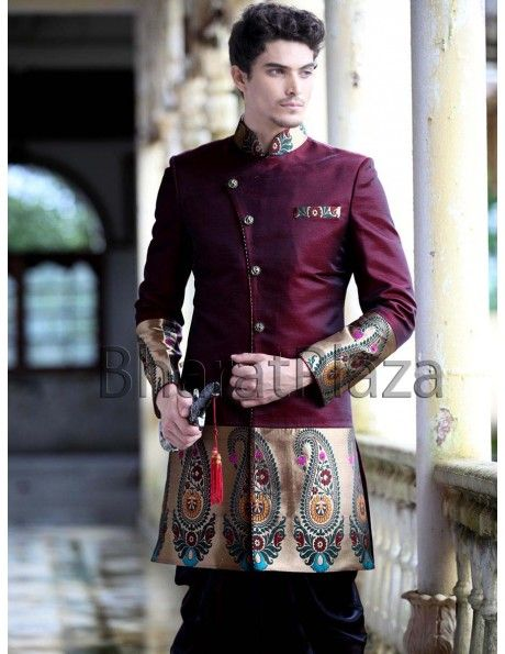 Brocade Patch Indo Western Sherwani Item code : SIJ6279 http://www.bharatplaza.in/ready-to-ship/sherwanis/brocade-patch-indo-western-sherwani-sij6279.html Designer look maroon color indo western sherwani with piping pattern, decorative buttons, high neck collar and brocade patch on cuff and bottom part is making the outfit more attractive. Paired with matching patiyala. This wonderful outfit is perfect for your special day.