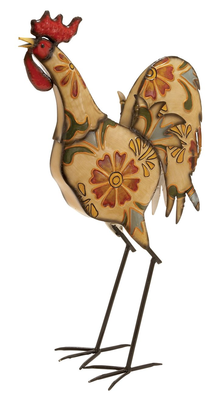 Features:  Product Type: -Statue.  Style: -Country/Cottage.  Theme: -Animal.  Subject: -Bird.  Finish: -Beige/Red.  Primary Material: -Metal.  Age Group: -Adult. Dimensions:  Overall Height - Top to B