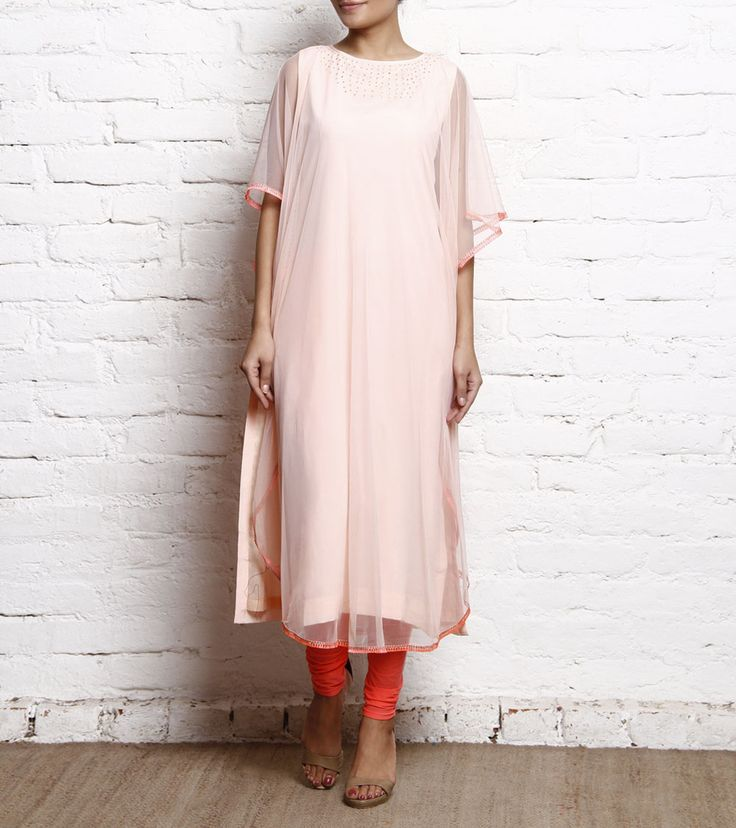 Peach Embellished Georgette & Net Kaftan With Churidar #indianroots #ethnicwear #churidar #kaftan #georgette #net #embellished #occasionwear #eveningwear #summerwear