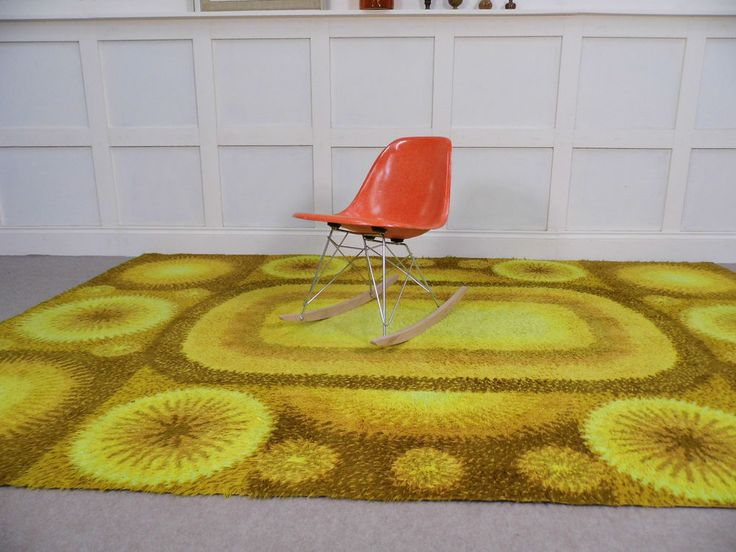 Huge Stylish Vintage Retro Abstract Shag Pile Wool Floor Rug 60s 70s Star  Chic