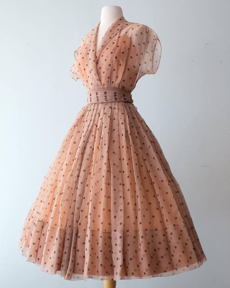 1950's Organdy Polka Dot Dress