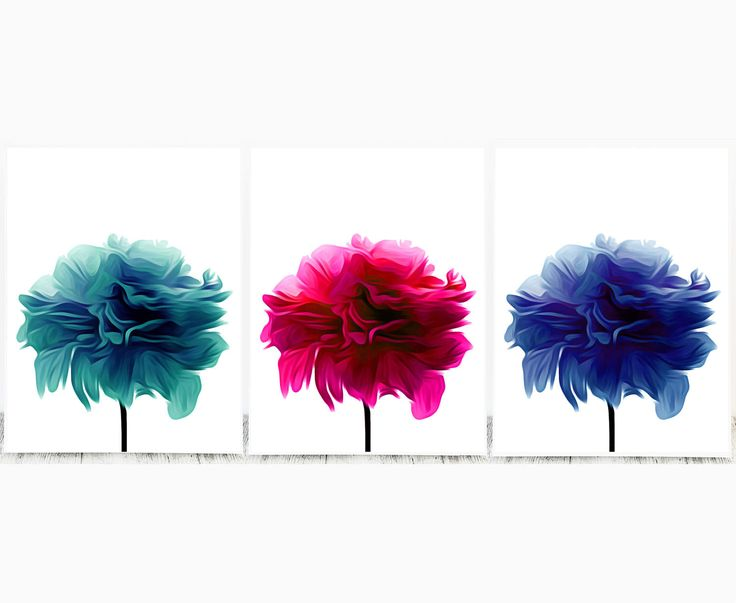 This Set of Teal, Hot Pink and Lapis Lazuli Flower Prints will Brighten up any Room.   This offer is for the digital files, not a print. Print instantly at home, take the file to your local printer or photo printing shop, or upload online to a printing service.   After checkout you will be directed