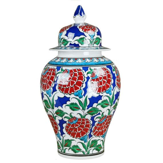 #ottoman #jar, Iznik #ceramics with flowers and blue, red and green #decor. Nice #bohostyle