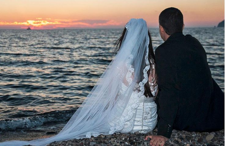 Just #married...#Romance and #Love under the #Sunset! Photo credits: @santoriniweddings
