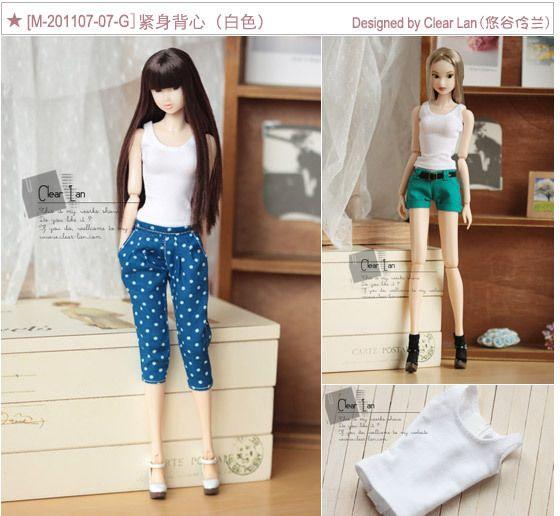 预订[M-201107-07-G]紧身背心(白色)/momoko娃衣