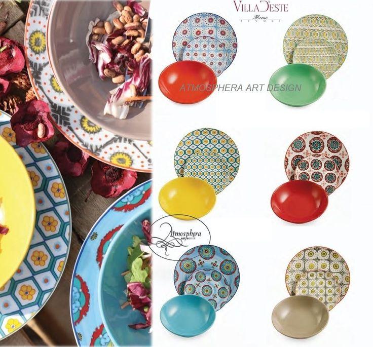 Villa d este servizio di piatti bazar tavola 18 pz 6 persone atmosphera art design - Servizio piatti design ...