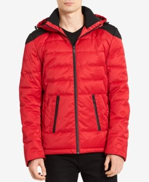 Calvin Klein Men's Puffer Jacket, Created for Macy's - Red 2XL