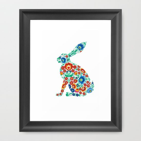 The hare Framed Art Print by Sally Leaney - $36.00