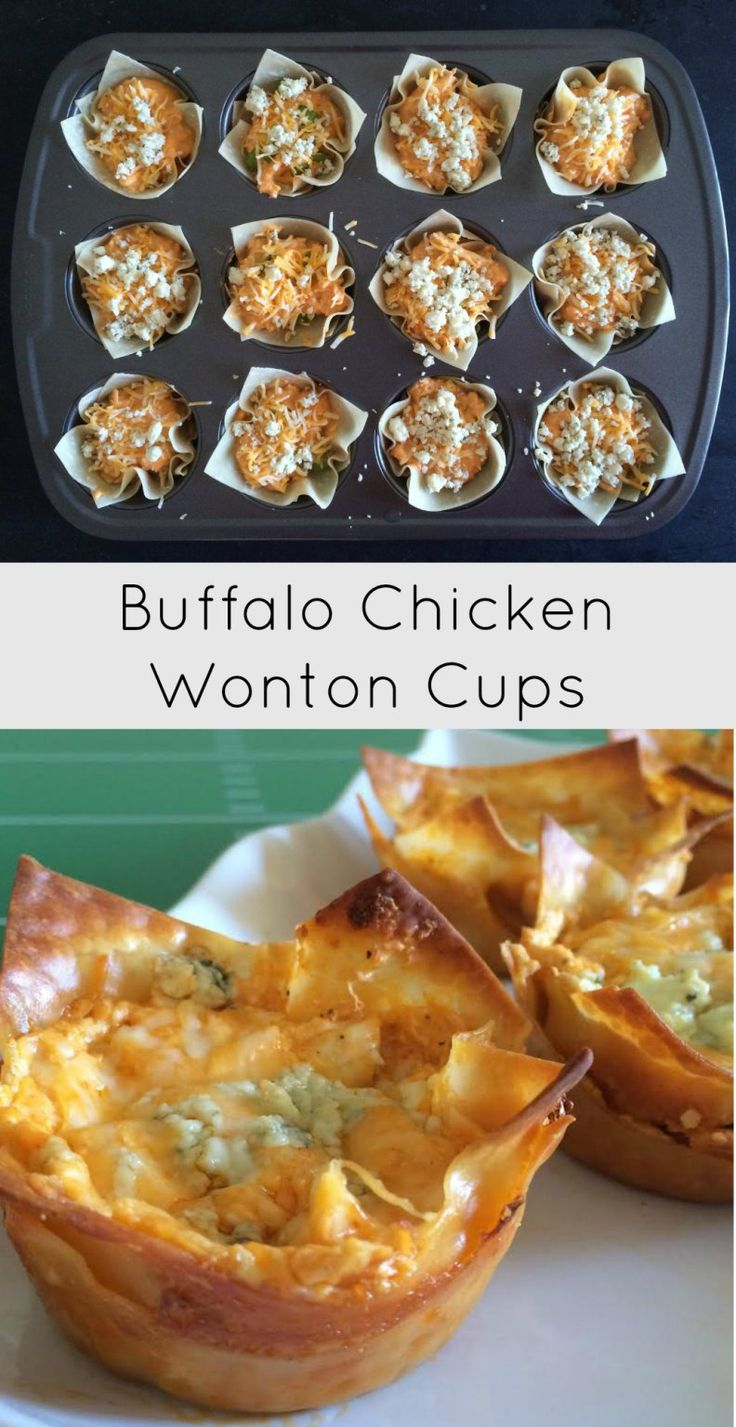 Buffalo Chicken Wonton Cups - The greatest game day watching party or tailgating party appetizer!