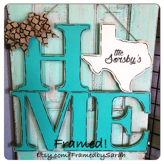 Texas or Any State HOME Door Hanger Wood Cut out by FramedbySarah
