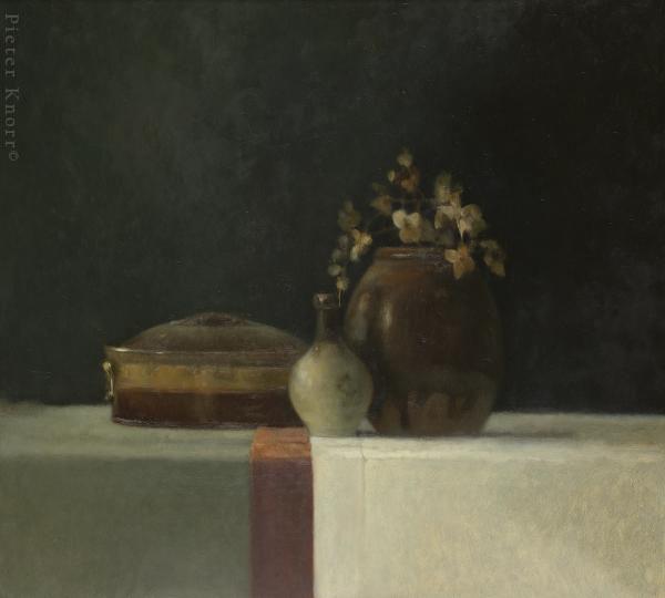 : Pieter Knorr Rode band 92 x 102 cm, Olieverf op paneel, 2009