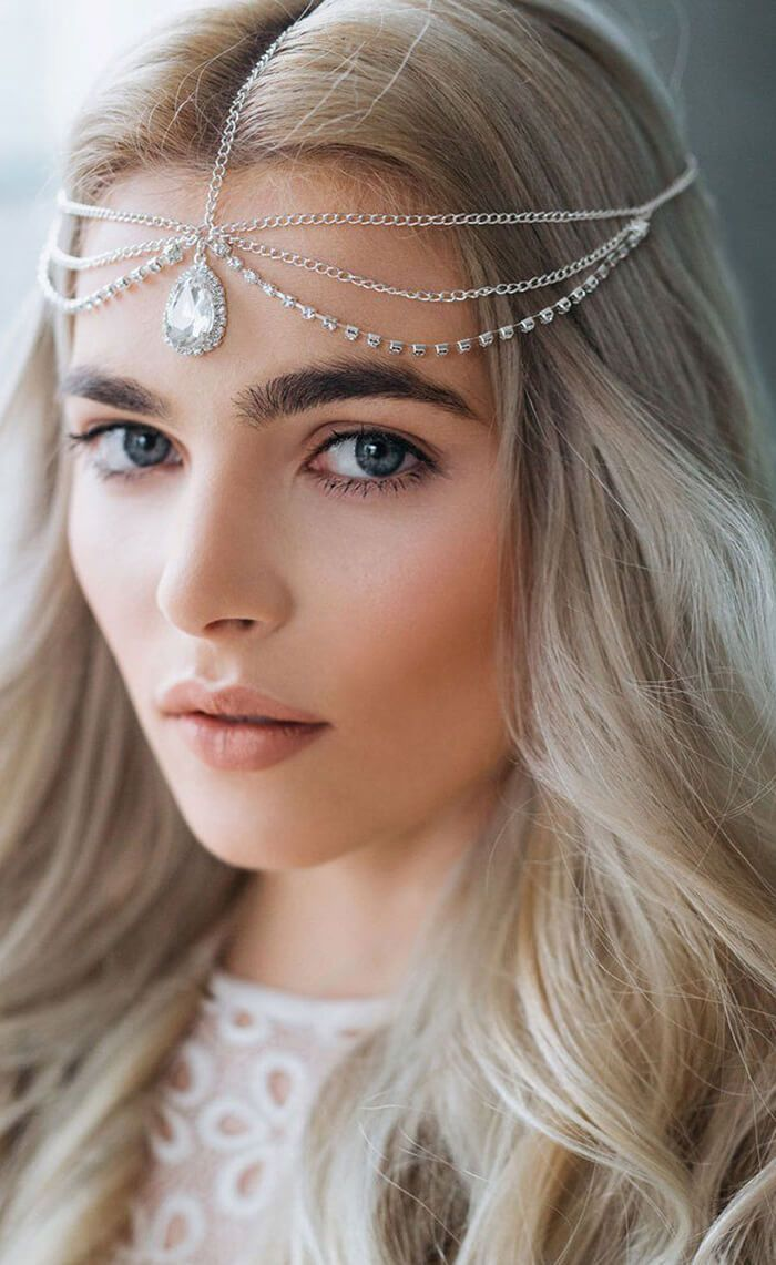 bohemian crystal head chain. boho wedding hair jewelry. boho