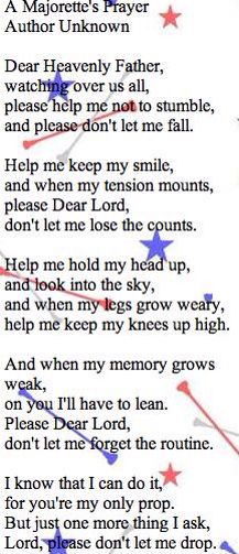 The majorettes prayer before competition or tryouts