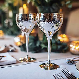 Culinary Concepts Pair of Silver Plated Hammered Wine Goblets #kaleidoscope #home
