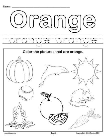 Free Color Orange Worksheet Learning Pinterest Preschool