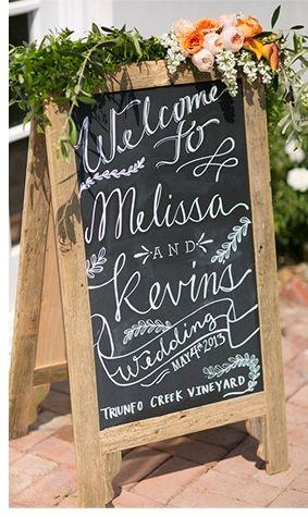 chalkboard welcome sign // www.chrisandjennphotos.com | allure bridals blog